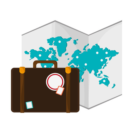 Tourism and travel suitcase with world map vector illustration graphic design Иллюстрация