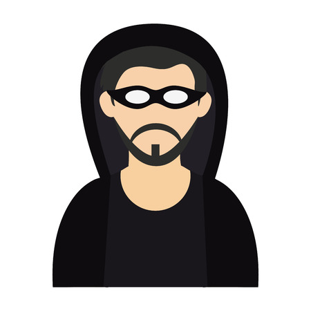 man face with mask and beard head vector illustration graphic design