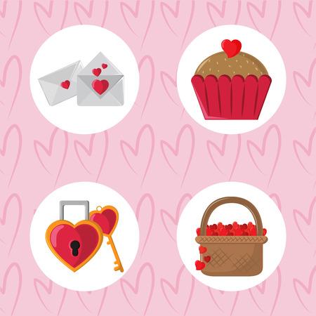 Feliz día de San Valentín iconos redondos fondo rosa ilustración vectorial diseño gráfico