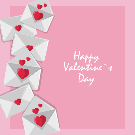 Happy valentines day card envelope with hearts vector illustration graphic design