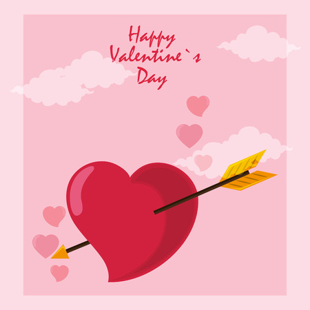 Happy valentines day card heart with arrow bow vector illustration graphic design Ilustrace