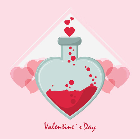Happy valentines day card flask with love formule vector illustration graphic design