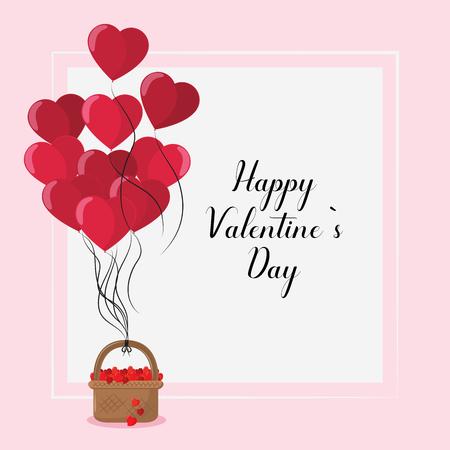 Feliz día de San Valentín tarjeta globos en forma de corazón con diseño gráfico de ilustración de vector de cesta Ilustración de vector