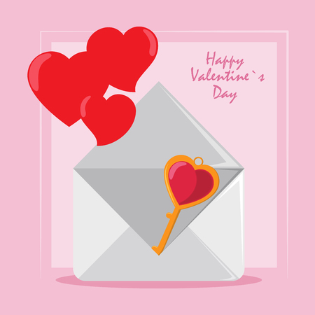 Happy valentines day card envelope with key and hearts vector illustration graphic design Illusztráció