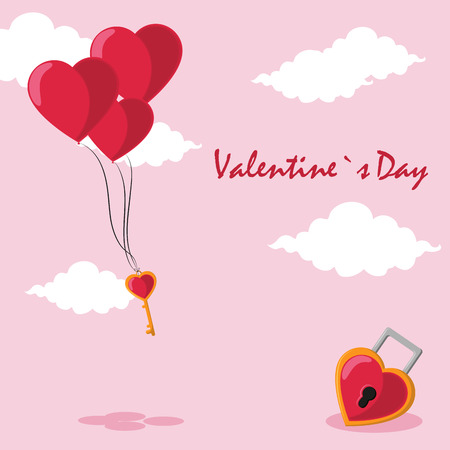 Happy valentines day card key with balloons and key with heart shaped padlock vector illustration graphic design