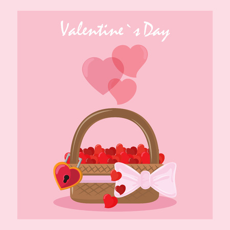 Happy valentines day card basket with bow and hearts vector illustration graphic design