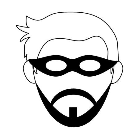 Manngesicht mit Maske und Bartkopfvektorillustrationsgrafikdesign Vektorgrafik