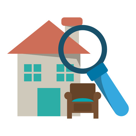 Real estate house magnifying glass and armchair vector illustration graphic design