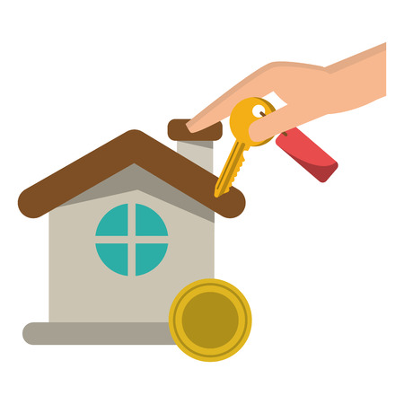 Real estate house and hand with key and savings coin vector illustration graphic design
