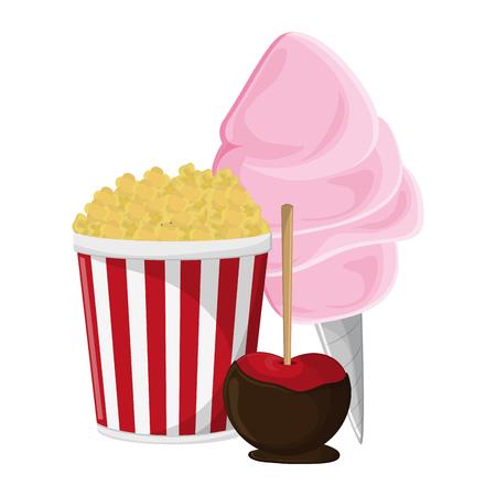 pop corn sugar cotton and caramelized apple vector illustration graphic design