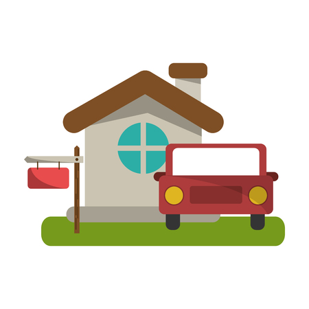 Real estate house and car with blank sign vector illustration graphic design