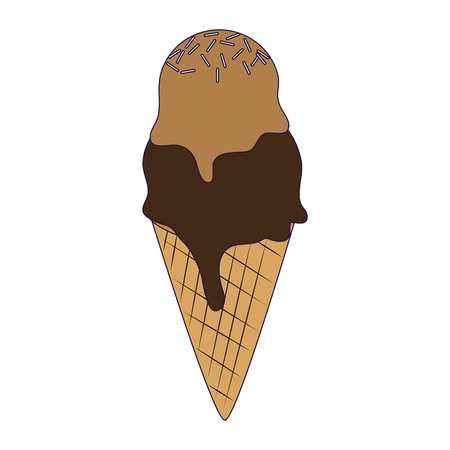 ice cream cone with two scoops vector illustration graphic design
