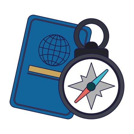passport and navigation compass vector illustration graphic design