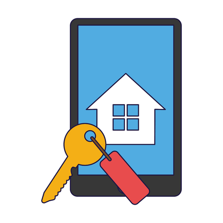 buy and rent real estate online from smartphone vector illustration graphic design