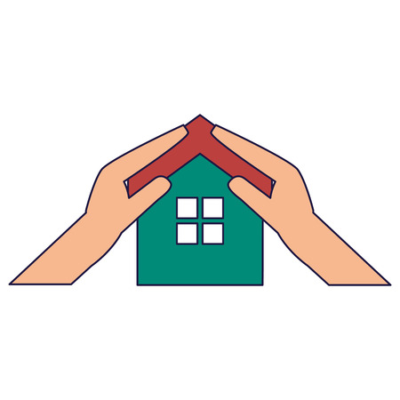Real estate house in hands symbol vector illustration graphic design