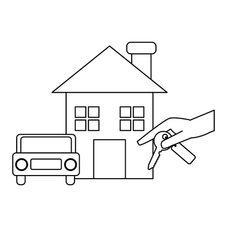 Real estate house with car and hand with key vector illustration graphic design