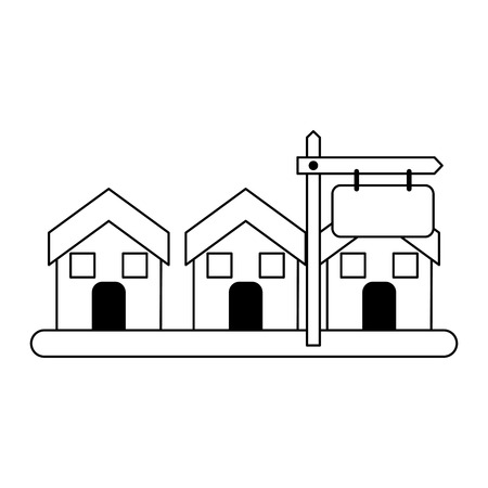 Real estate house in sale and sign post vector illustration graphic design
