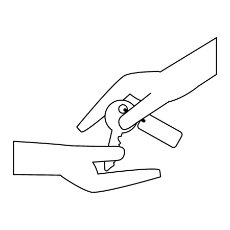 Real estate hands passing house keys vector illustration graphic design 免版税图像 - 116146971