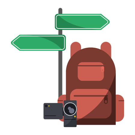 Travel and tourism backpack camera and street sign post vector illustration graphic design