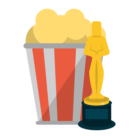 Cinema and movies entertainment pop corn bucket and oscar award vector illustration graphic design