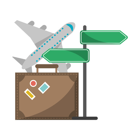Travel and tourism suitcase airplane and street sign post vector illustration graphic design Vectores