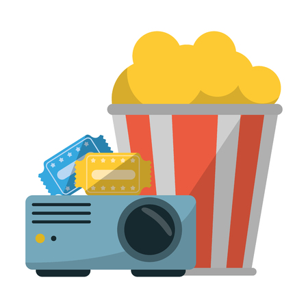 Cinema and movies projector pop corn bucket and tickets vector illustration graphic design Stock Illustratie