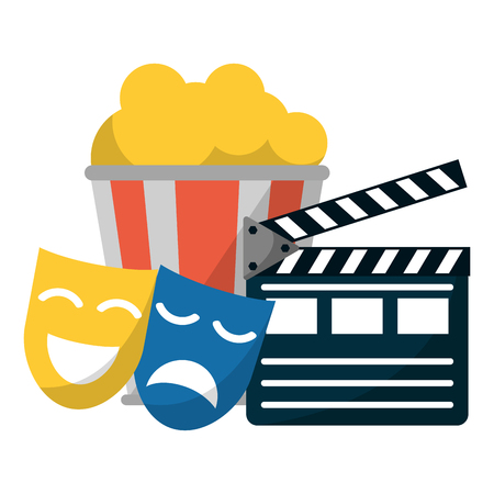 Cinema and movies clpaboard masks and pop corn bucket vector illustration graphic design Vettoriali