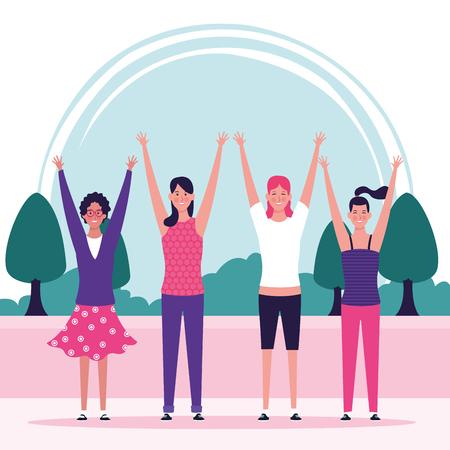 Mujeres felices celebrando el día en el parque dibujos animados ilustración vectorial diseño gráfico Ilustración de vector