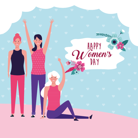 Happy women day card with girls smiling cartoons vector illustration graphic design