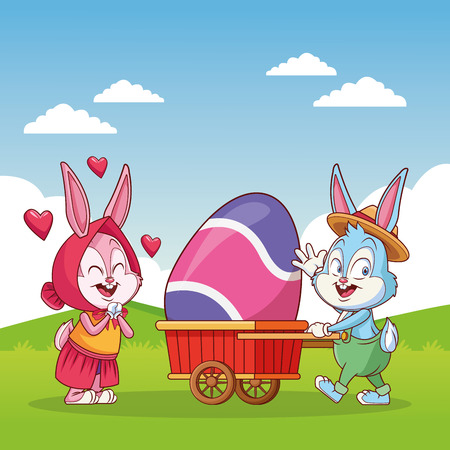 Happy easter egg with rabbits in nature cartoon vector illustration graphic design Ilustração