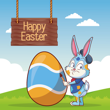 Happy easter card with rabbit and egg cartoon on landscape vector illustration graphic design