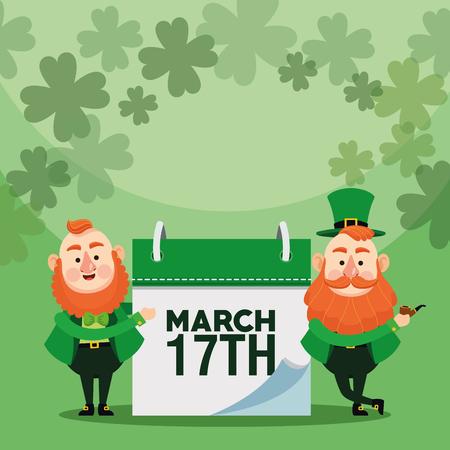 Happy saint patricks day card elves wooden background vector illustration graphic design