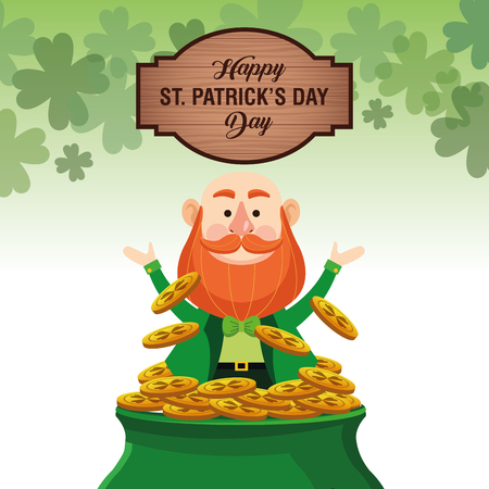 Happy saint patricks day card with elf cartoon and wooden sign vector illustration graphic design