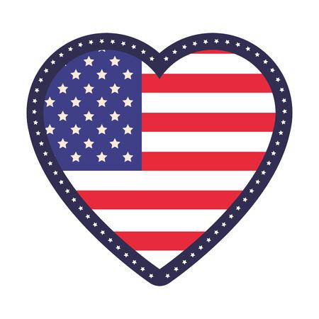 united stated heart with flag vector illustration graphic design Ilustração