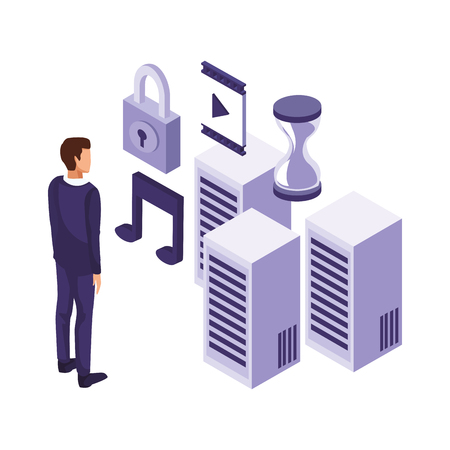 businessman with informatic items server padlock multimedia vector illustration graphic design Illustration