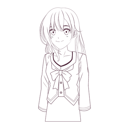 anime manga girl smiling vector illustration graphic design