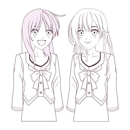 anime manga girls black and white vector illustration graphic design