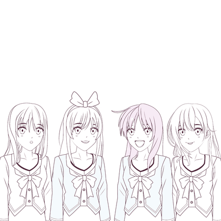 anime manga girls group black and white vector illustration graphic design