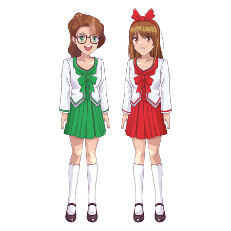 anime manga girls with glasses and ribbon vector illustration graphic design 向量圖像