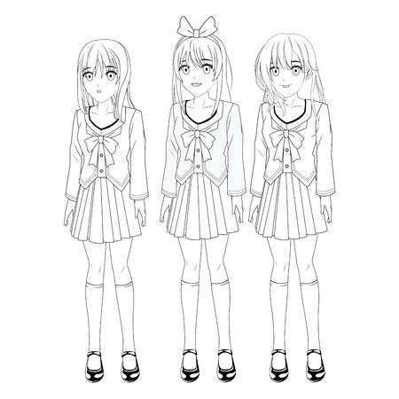 anime manga girls trio black and white vector illustration graphic design