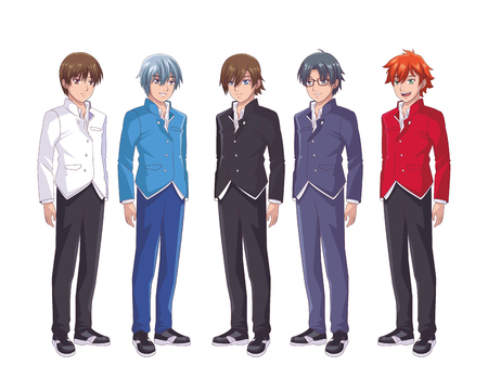 anime manga men group colorful vector illustration graphic design