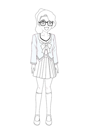 anime manga girl with glasses black and white vector illustration graphic design