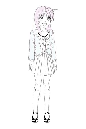 anime manga girl laughing black and white vector illustration graphic design 向量圖像