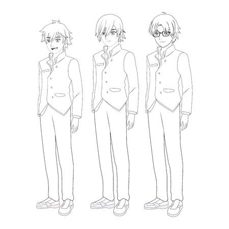 anime manga men trio black and white vector illustration graphic design Illustration