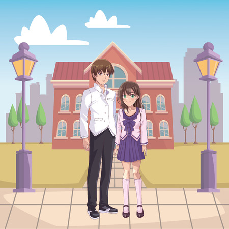 couple anime manga cityscape vector illustration graphic design