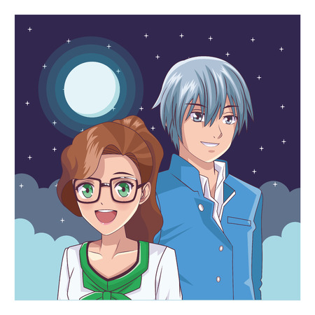 couple anime manga portrait at night with moon vector illustration graphic design