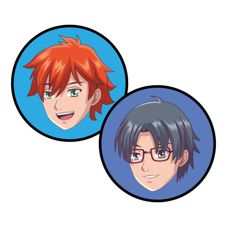 anime manga young people only face round icon vector illustration graphic design