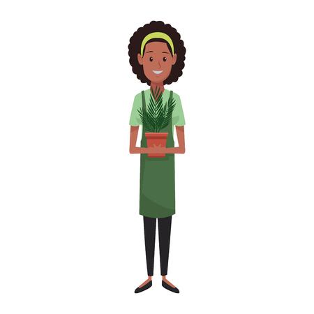 young planter woman cartoon vector illustration graphic design