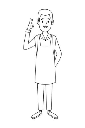 coffee shop waiter cartoon vector illustration graphic design