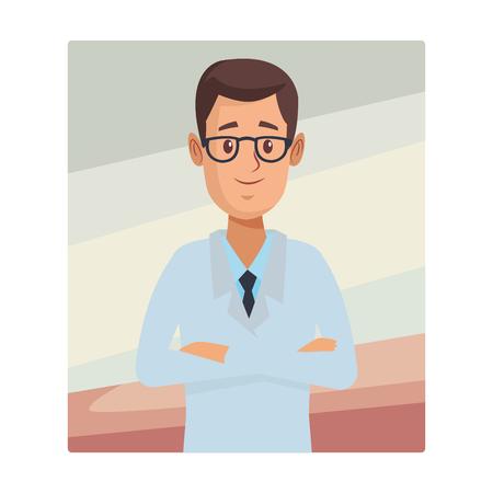 pharmacy pharmacist upperbody cartoon vector illustration graphic design